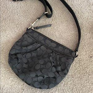 💕Coach black small crossbody fabric purse 💕